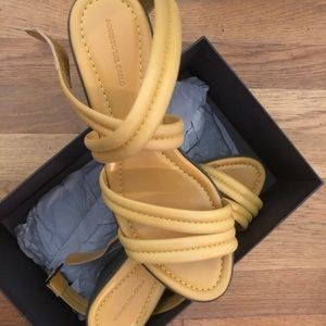 Roberto Del Carlo Yellow Leather Wedge Sandals